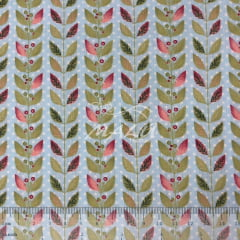 Tricoline Floral em Tons de Rosa e Verde com Fundo Petit Poa Azul TRICO9735