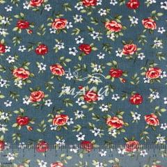 Tricoline Floral Lúcia Azul TRICO9454