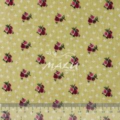 Tricoline Floral Pink no Bege TRICO9503