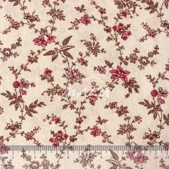 Tricoline Floral Rosa Com Bege TRICO9439
