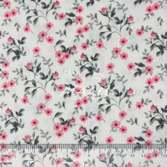 Tricoline Floral Rosa Com Cinza TRICO9472