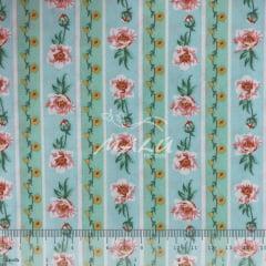 Tricoline Floral Rosa com Listras TRICO9736