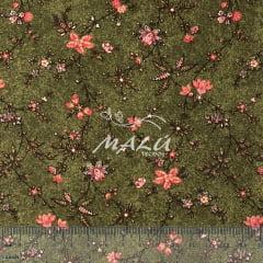 Tricoline Floral Rosa com Verde Musgo