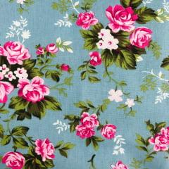 Tricoline Floral Rosa e Azul