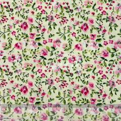 Tricoline Floral Rosinha no Bege Pintura TRICO8671