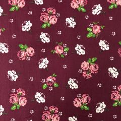 Tecido Estampa Floral Bordo