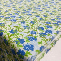 Tricoline Floral Verde com Azul