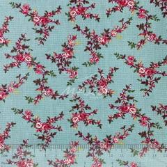 Tricoline Floralzinho Rosa com fundo Verde Tiffany TRICO8839