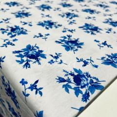 Tricoline Flores Azuis