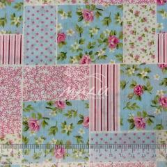 Tricoline Patch com Floral Azul e Rosa TRICO9729