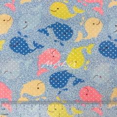 Tricoline Azul com Baleias Colorias TRICO9763