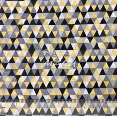 Tricoline Triangulos Amarelo e Cinza TRICO9249