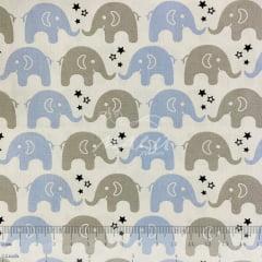 Tricoline Elefante Azul e Cinza TRICO8884