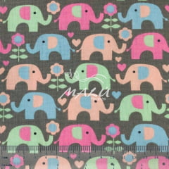 Tricoline Elefantes Coloridos