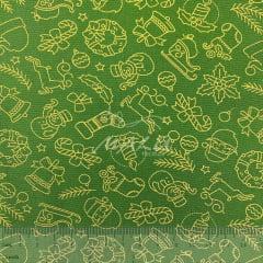 Tricoline Natal Verde e Dourado