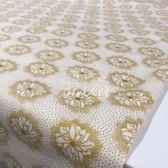 Tricoline Flores Douradas com Fundo Off White