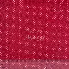 Tricoline Micro Poa Vermelho Cereja Bola Branca TRICO8767