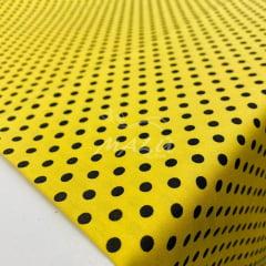 Tricoline Poa Amarelo Bola Preta