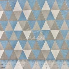 Tricoline Triangulos Azul e Cinza TRICO8865