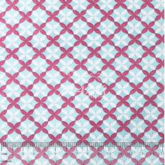 Tricoline Ornamento Rosa e Azul TRICO9531