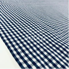 Tricoline Fio Tinto Xadrez Branco com Azul