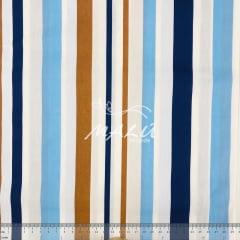 Tricoline Faixas Azul com Marrom