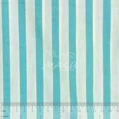 Tricoline Listrado Verde Água e Branco TRICO8823