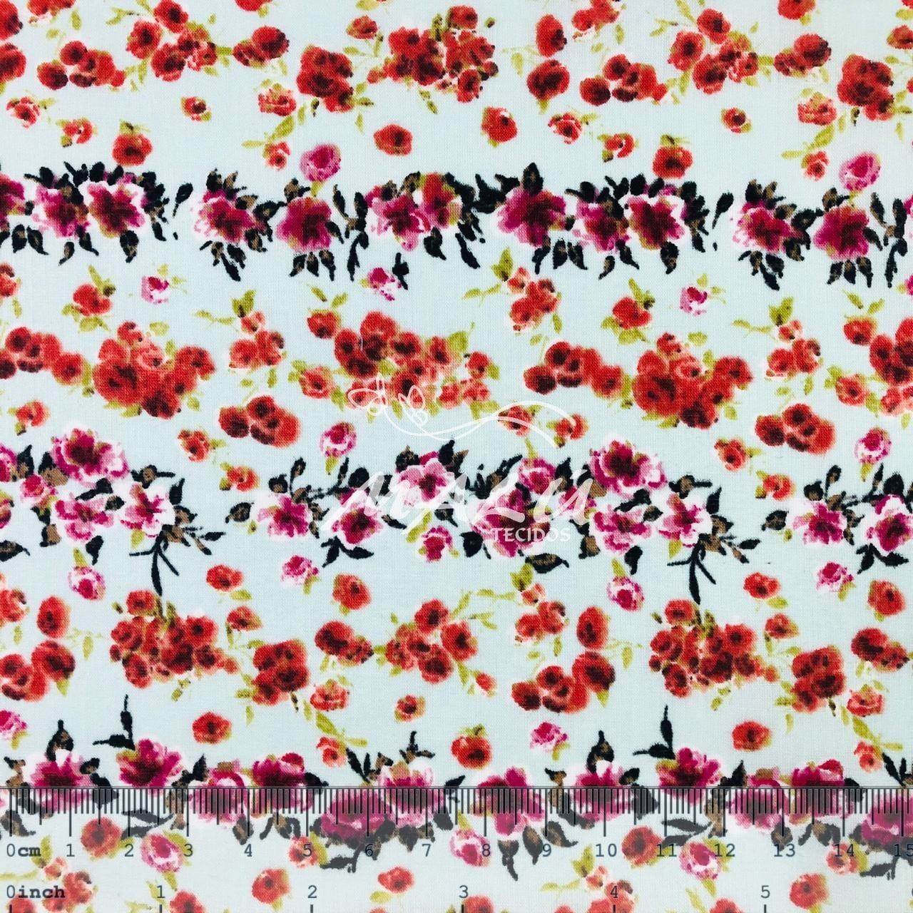 Tricoline 70% Algodão Flores Vermelhas e Rosas
