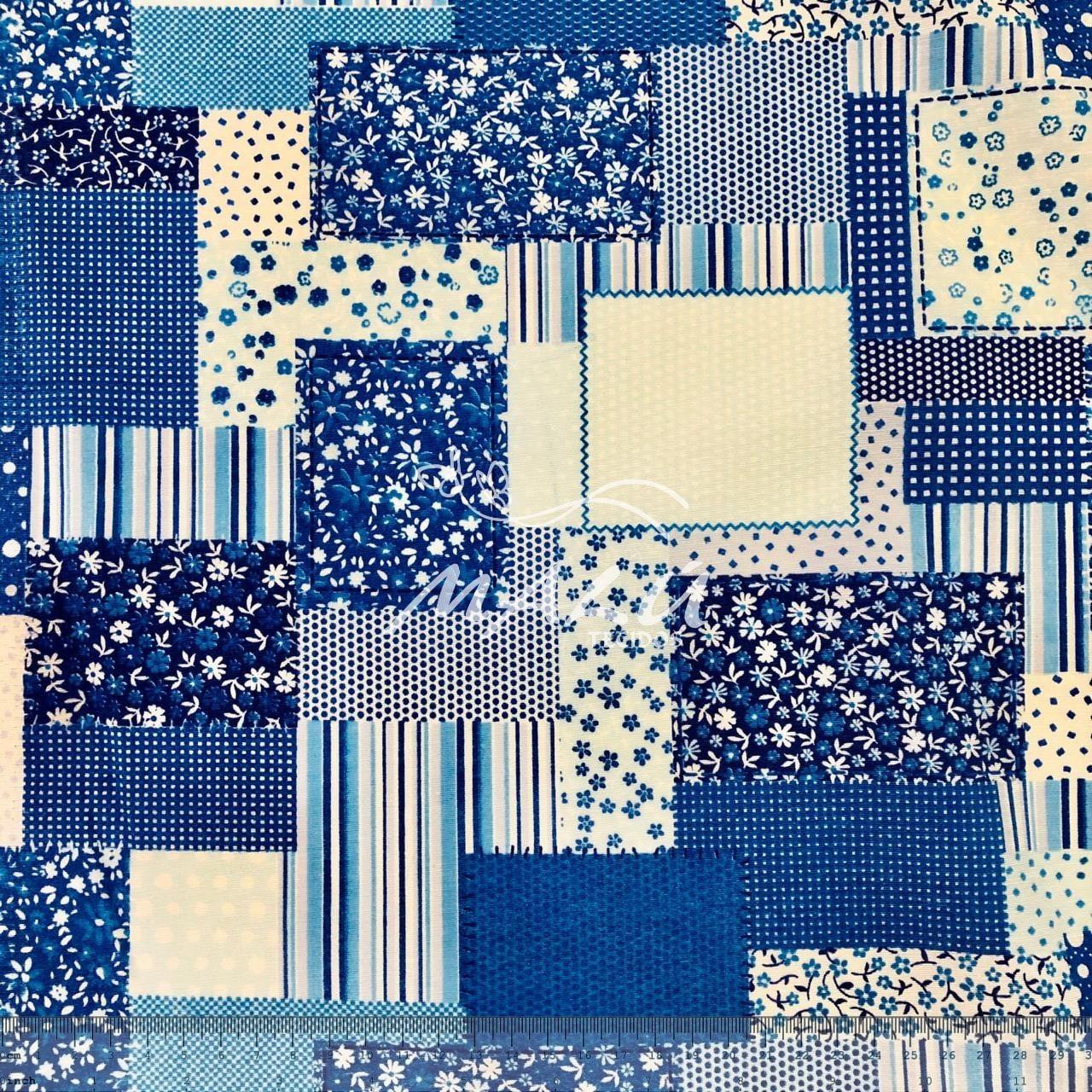 Tricoline 70% Algodão Mosaico de Flores Azul
