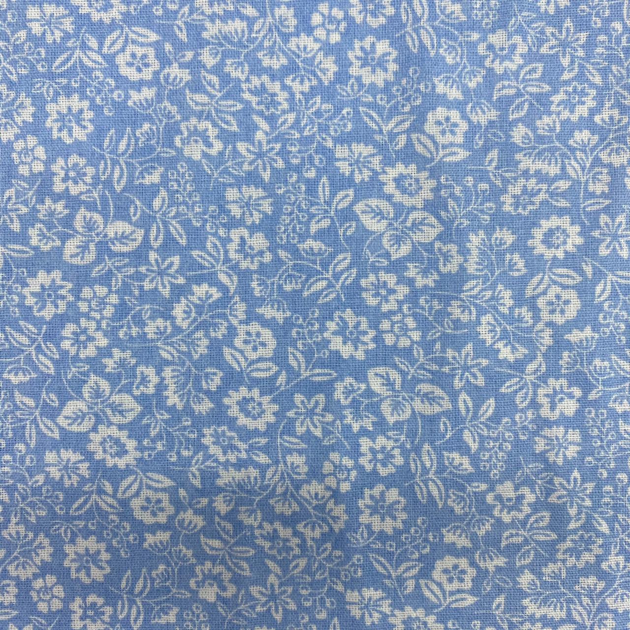 Tricoline Mista 50% Alg. Floral Azul Claro