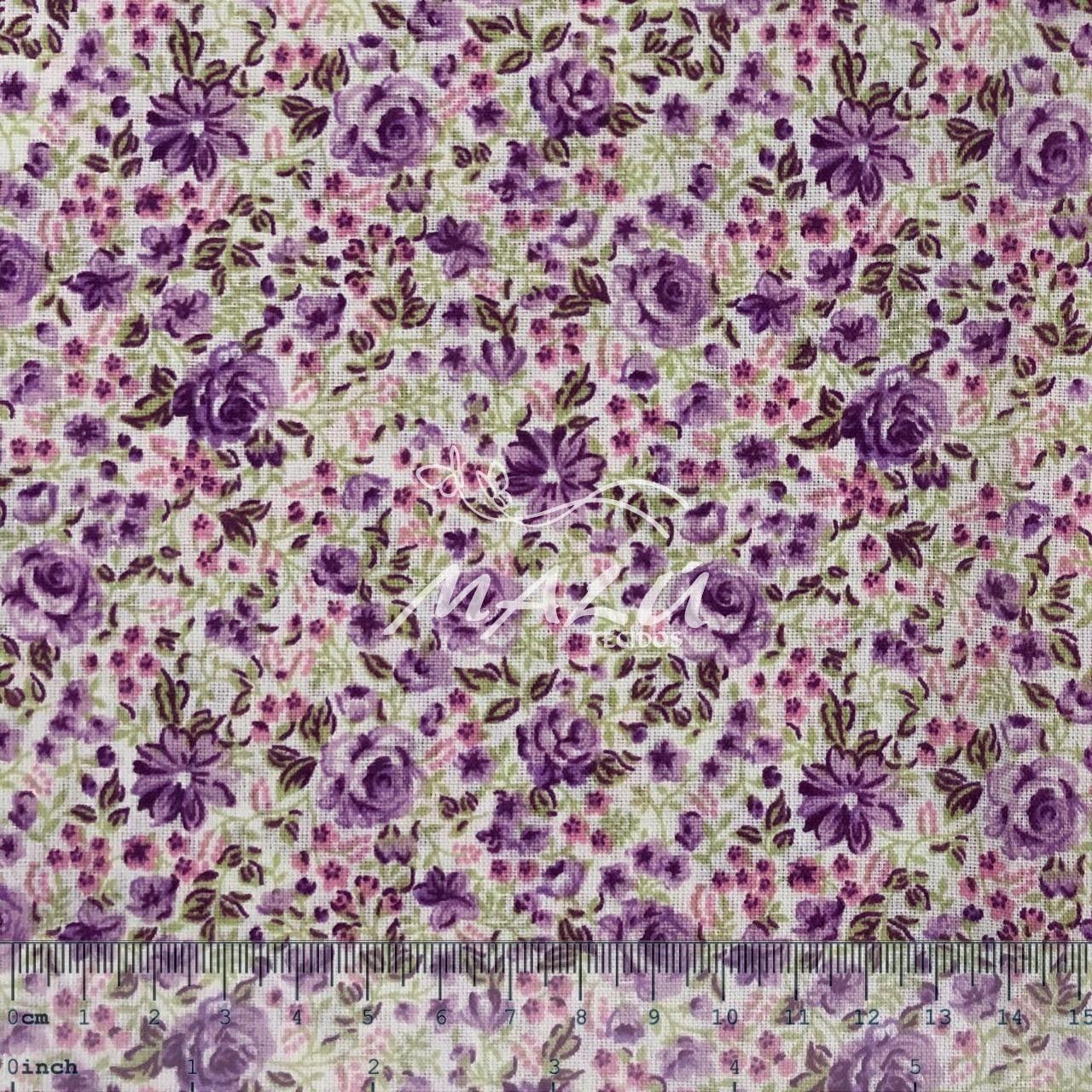 Textoleen 50% Alg. Floral Roxo
