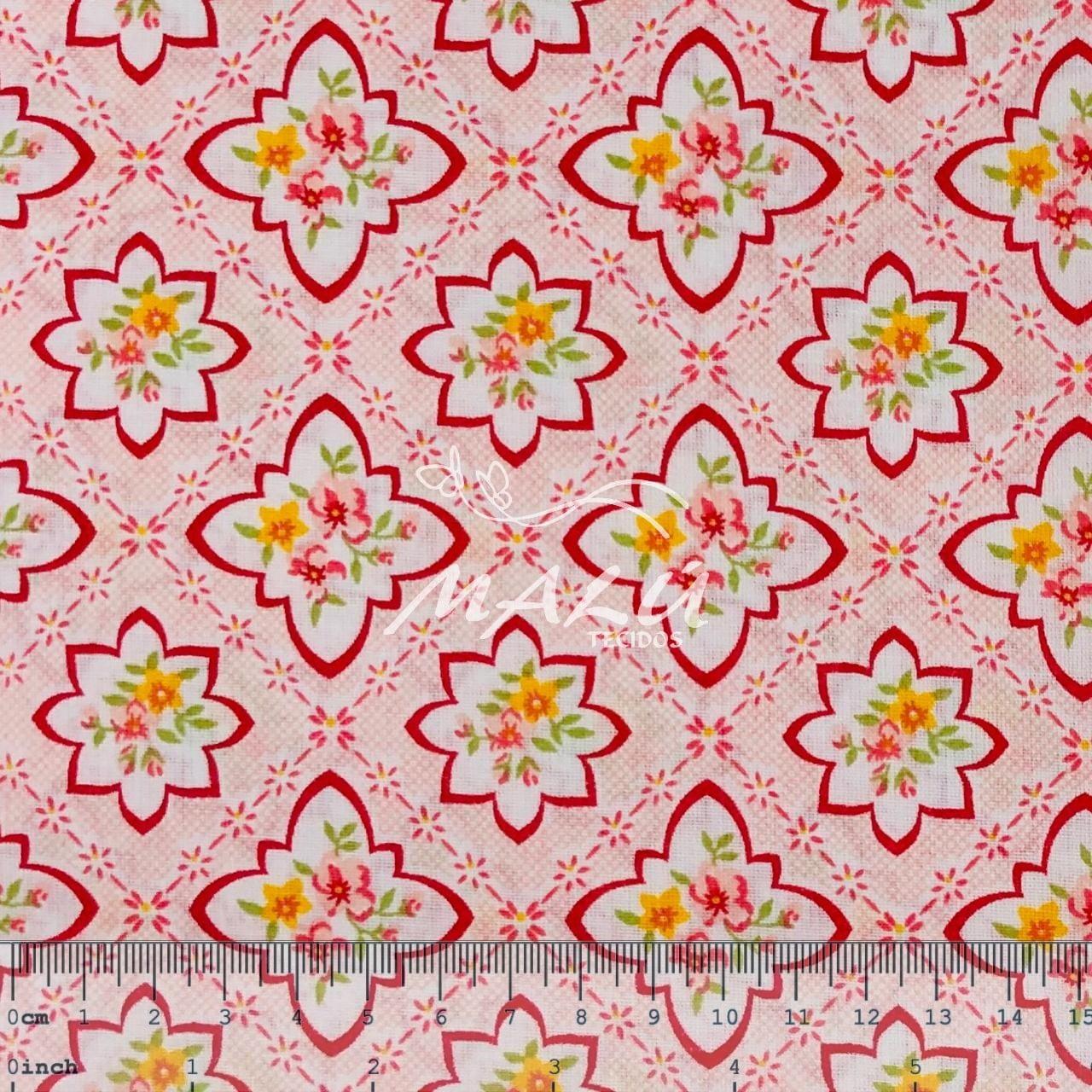 Tricoline Mista 50% Alg. Textoleen Floral