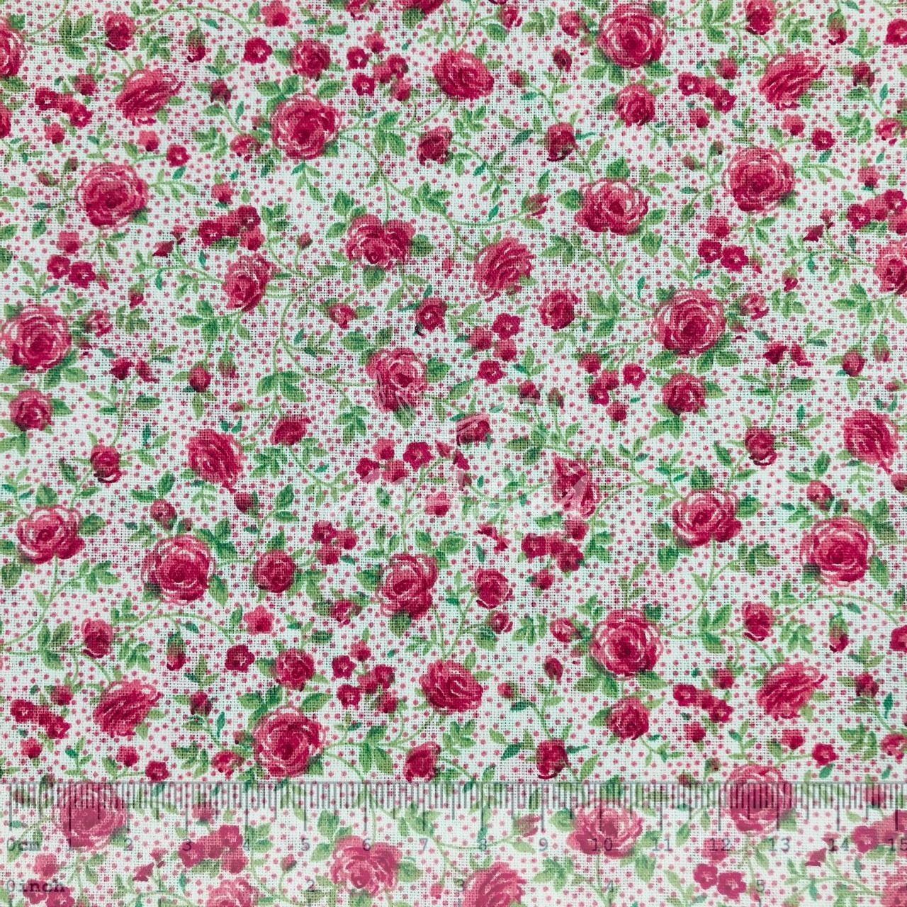 Tricoline Mista 50% Alg. Flores Rosas