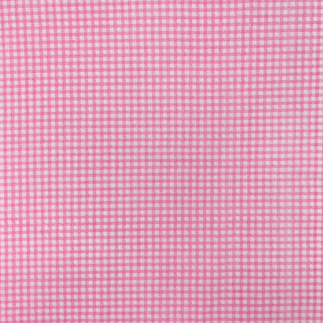 Tricoline Mista 50% Alg. Textoleen Xadrez Rosa