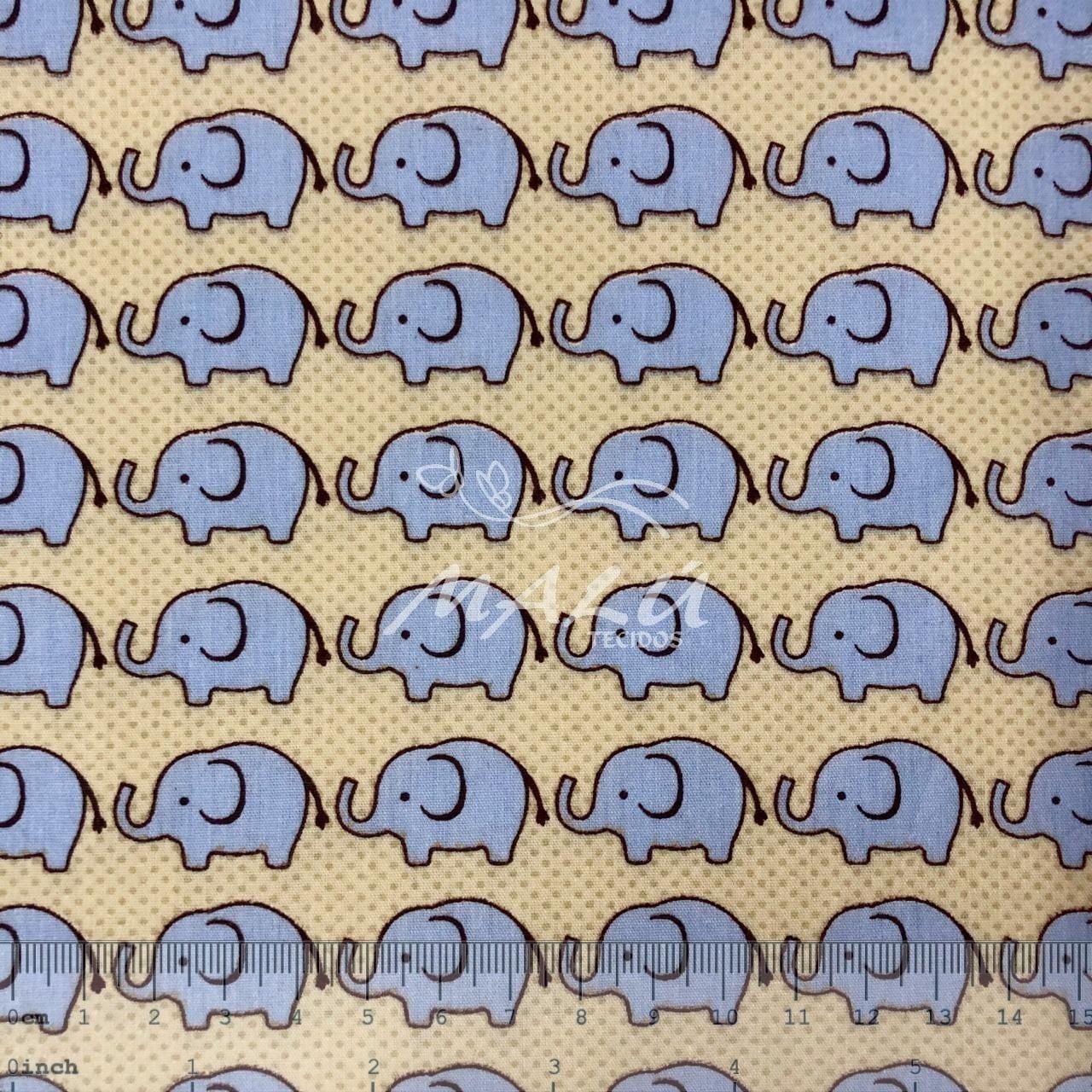 Tricoline Bege com Elefante Azuis