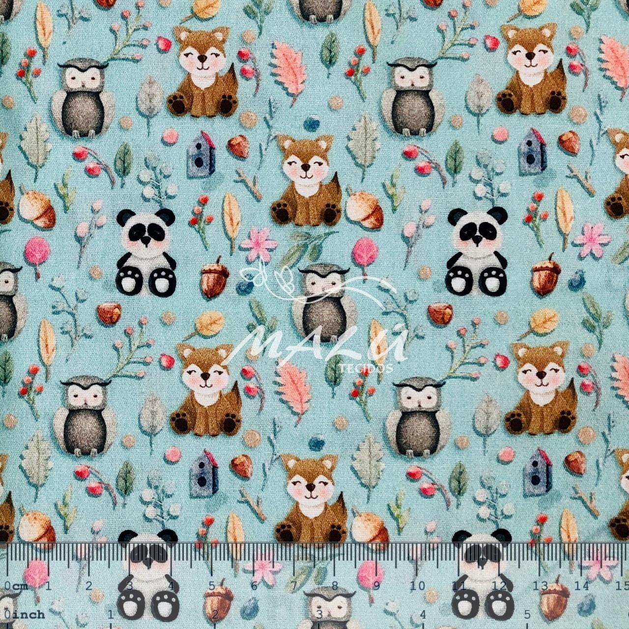 Tricoline Digital Corujas Pandas e Raposas