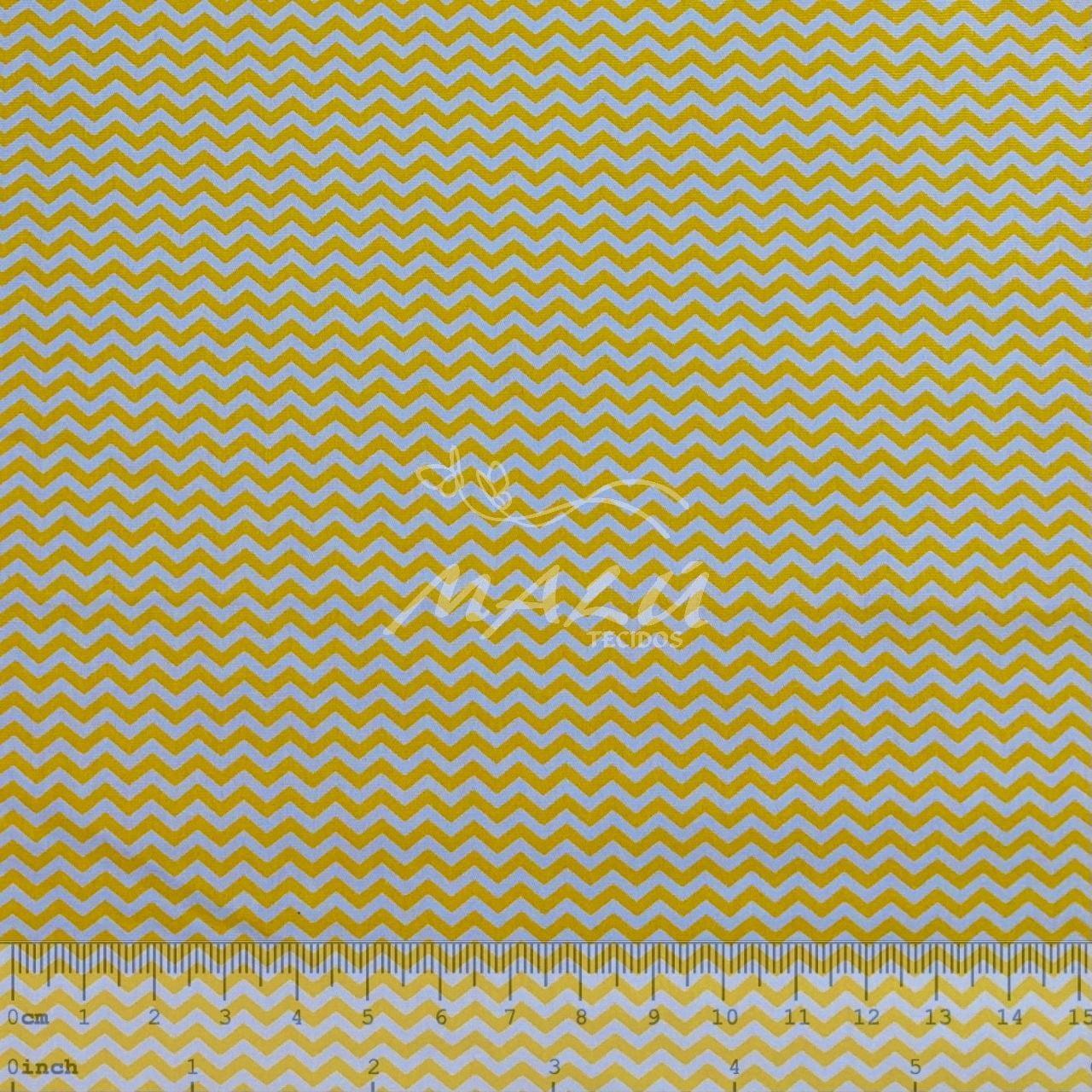 Tricoline Chevron Amarelo e Branco