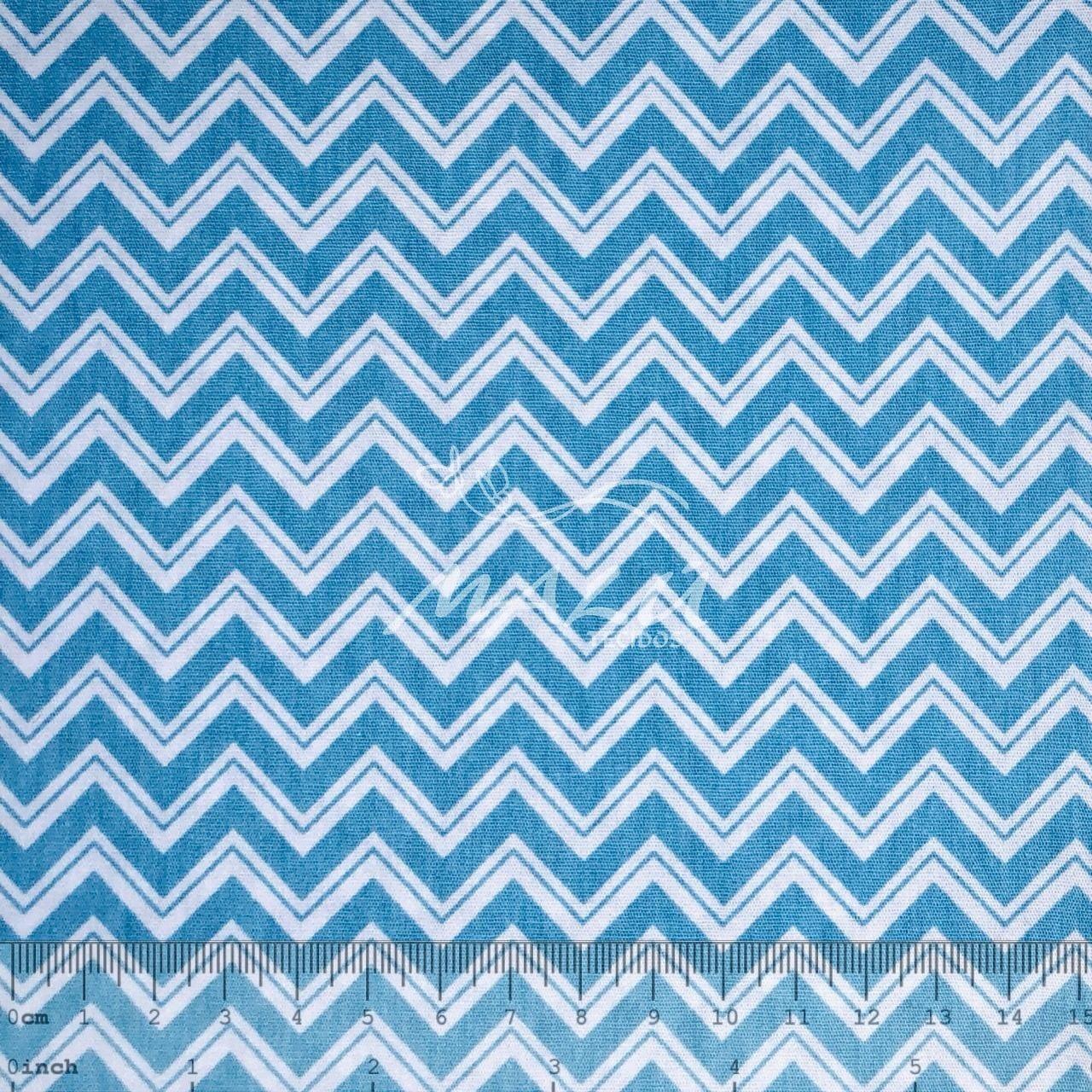 Tricoline Chevron Largo Azul com Filetes