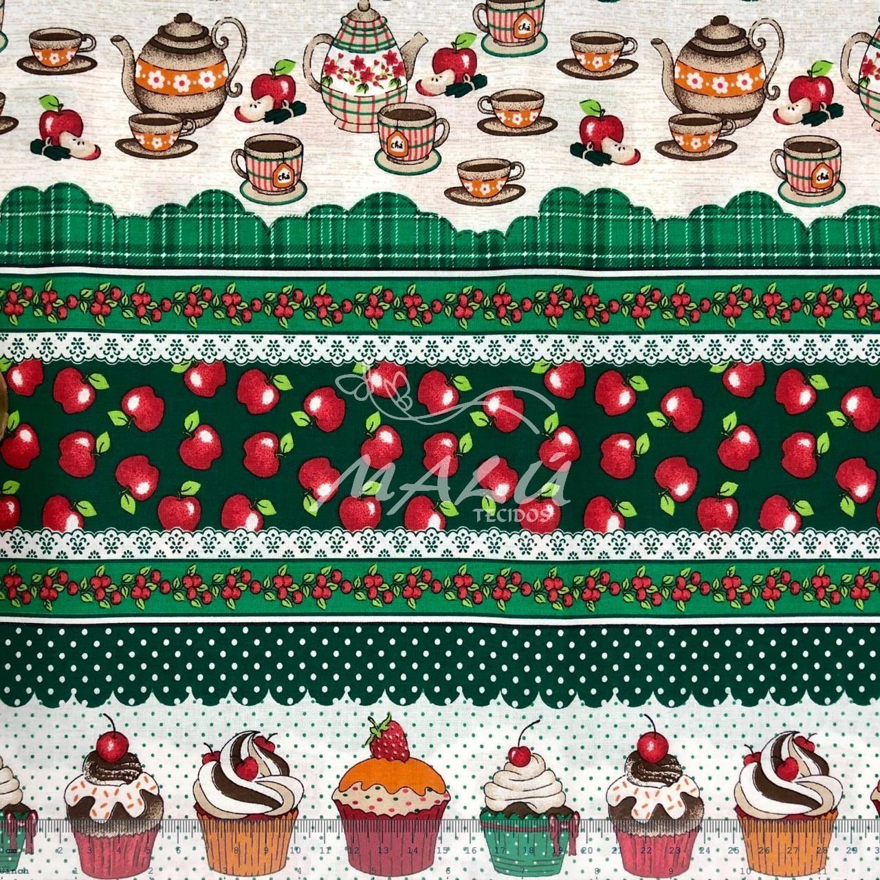 Tricoline Barrado Cozinha Bule Cupcake