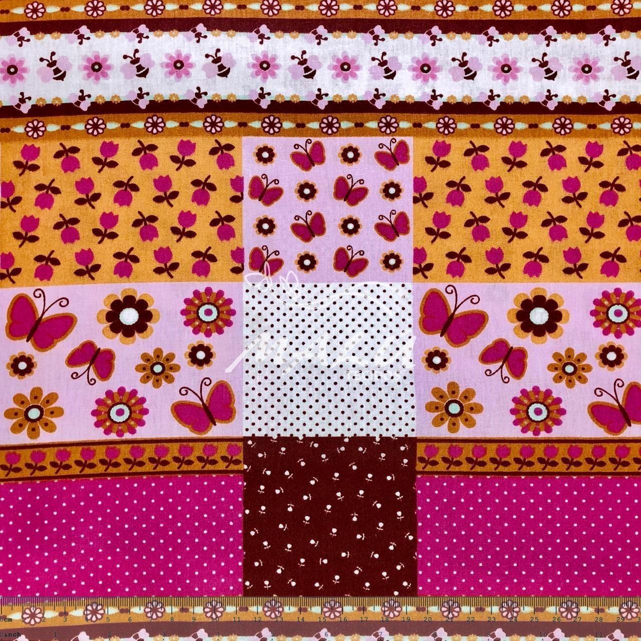 Tricoline Patchwork Floral com Borboletas 31cm