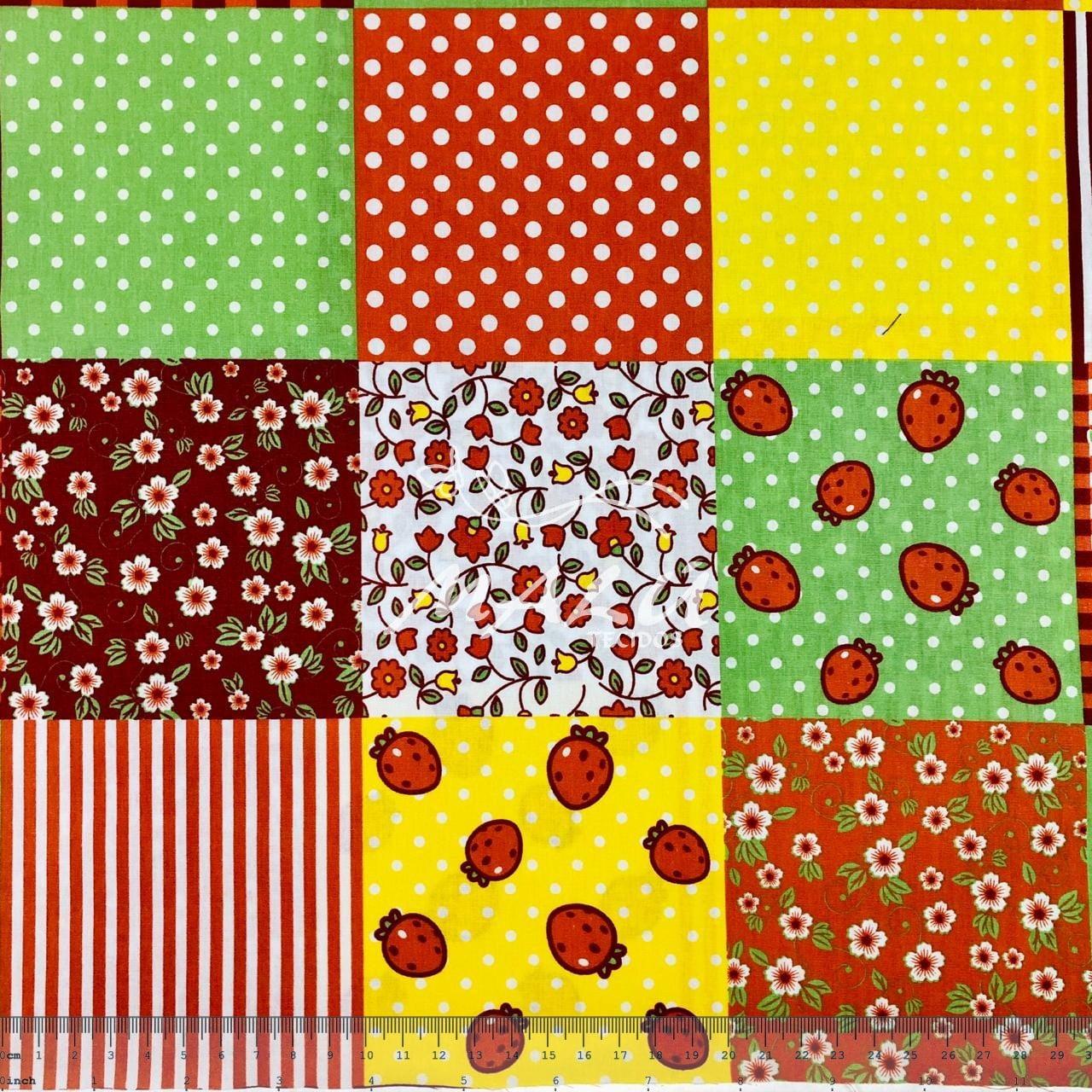Tricoline Patchwork Frutas e Floral