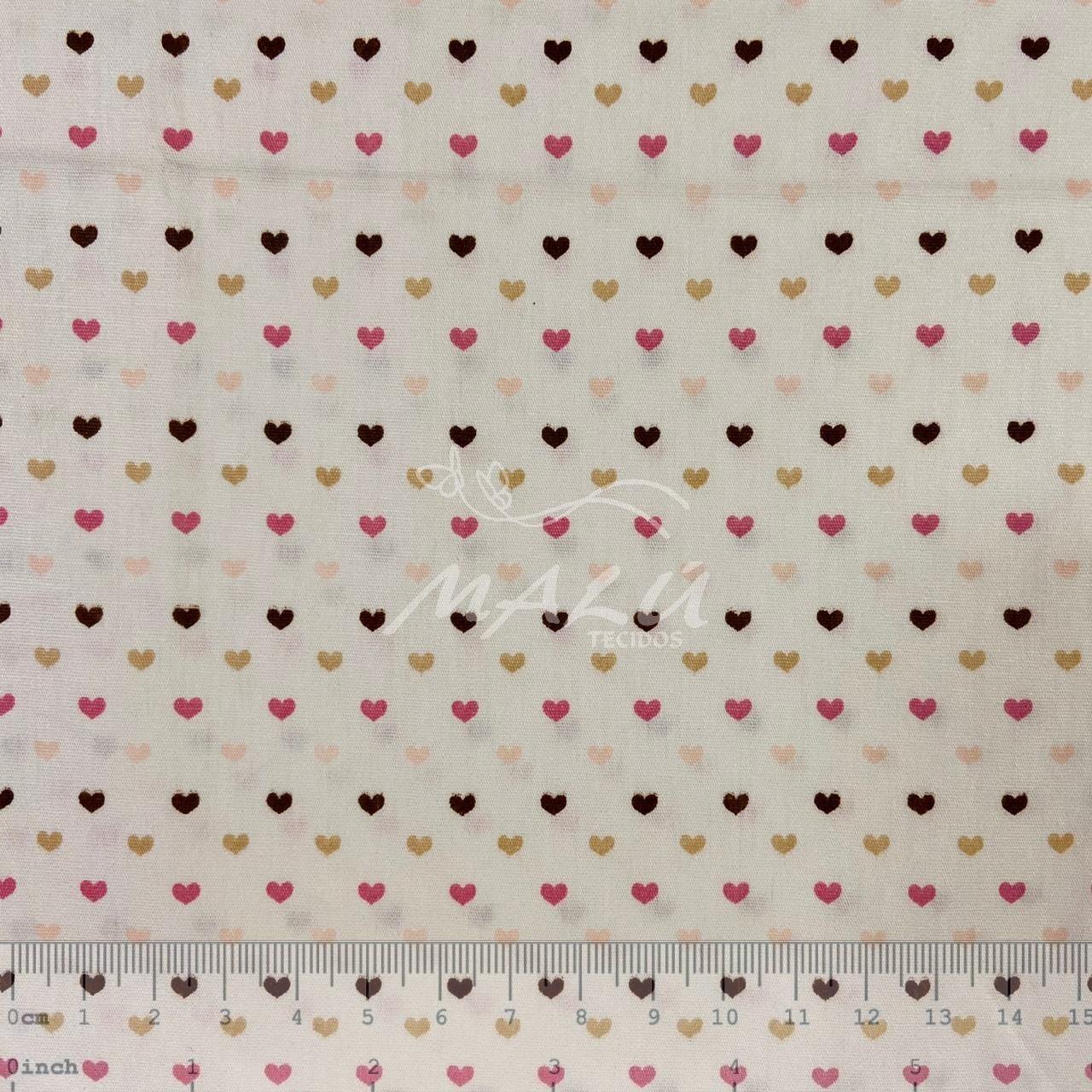 Tricoline Marfim com Corações Coloridos