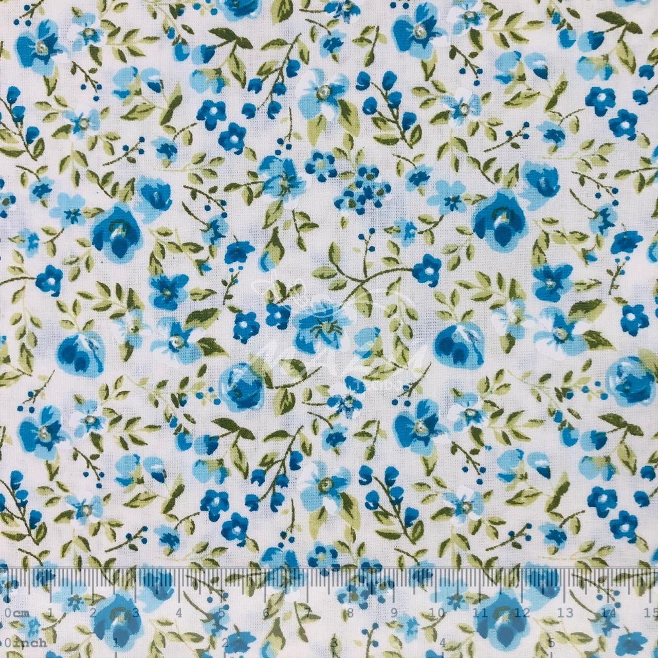 Tricoline Floral Azul