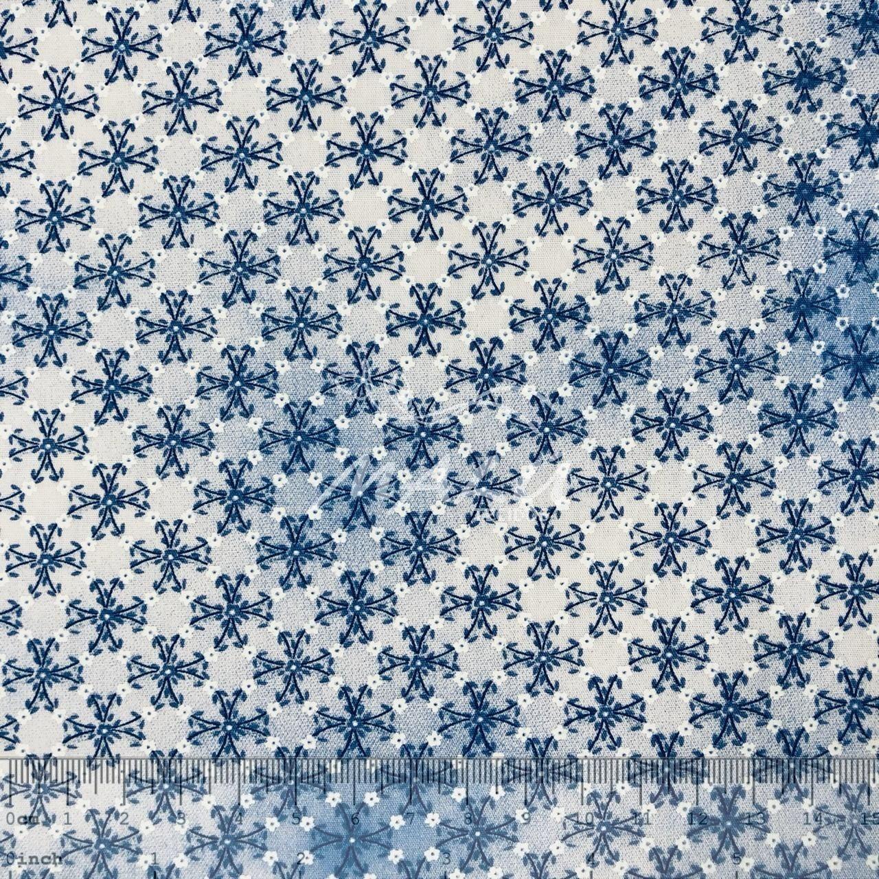 Tricoline Floral Esponjado Azul