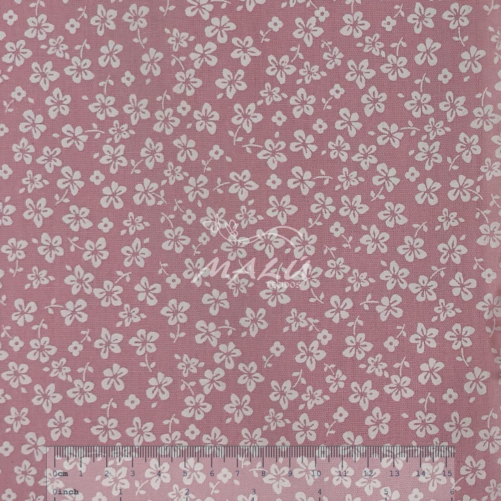 Tricoline Floral Branco com Fundo Rosa Bebe