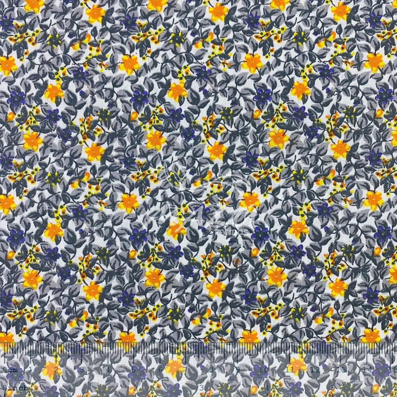 Tricoline Floral Cinza e Amarelo