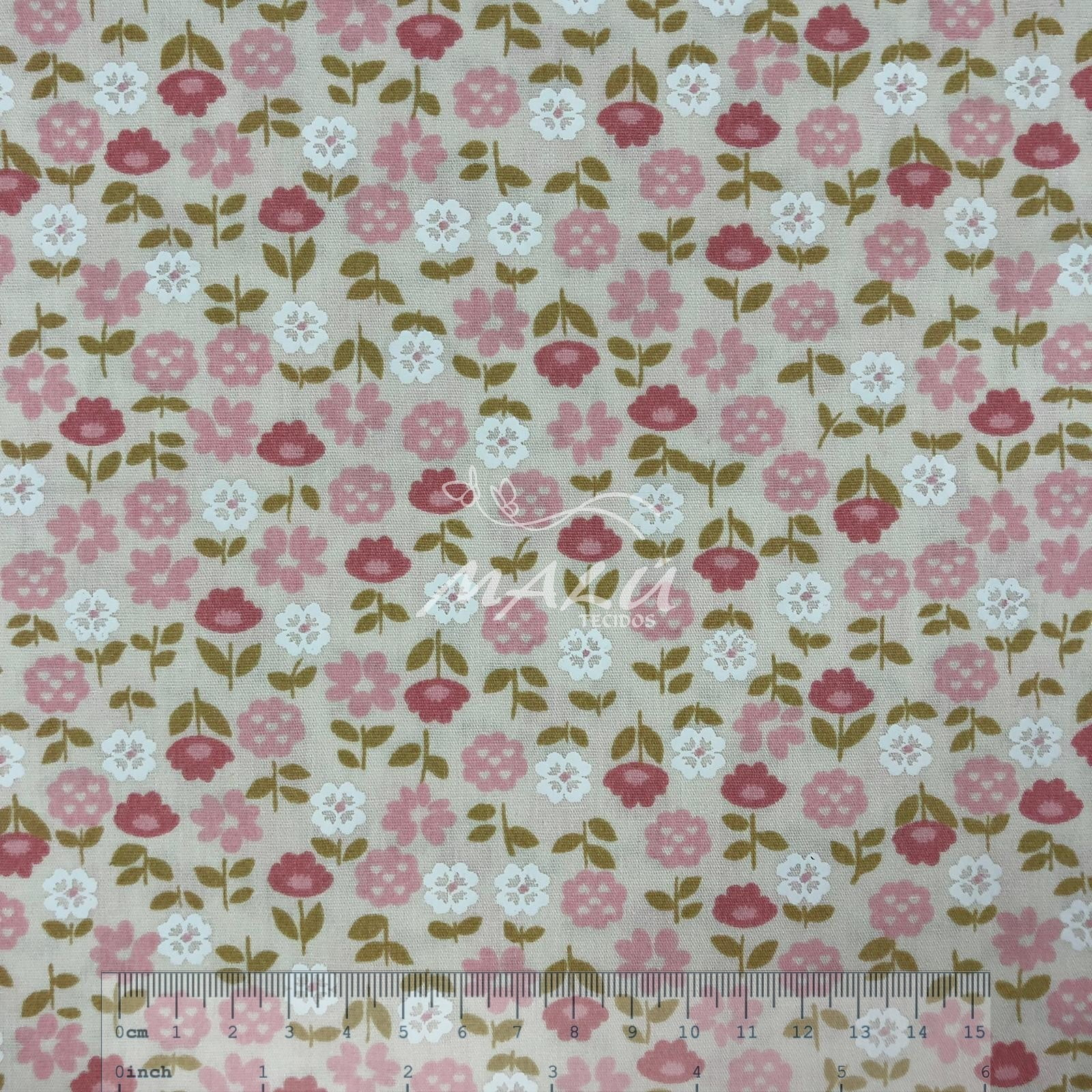 Tricoline Floral Rosa Claro