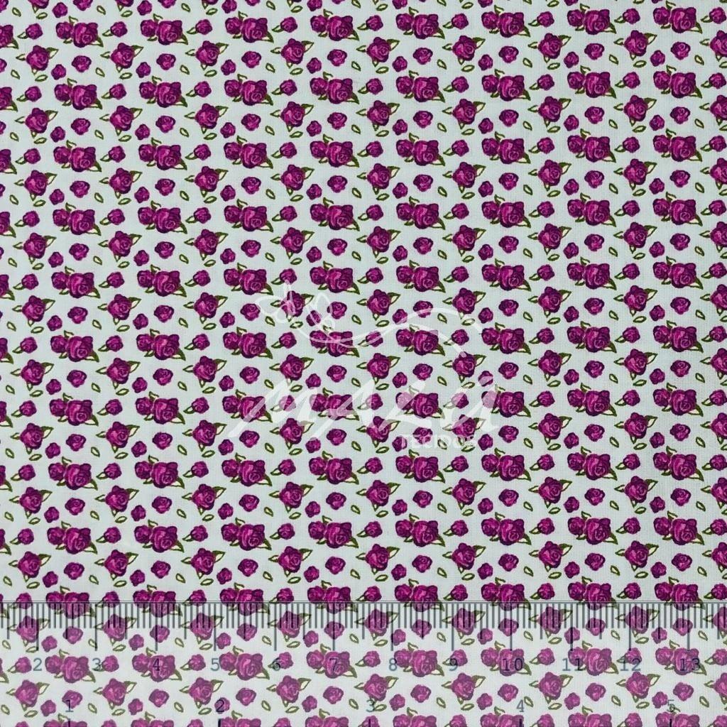 Tricoline Floral Roxo com Fundo Lilas