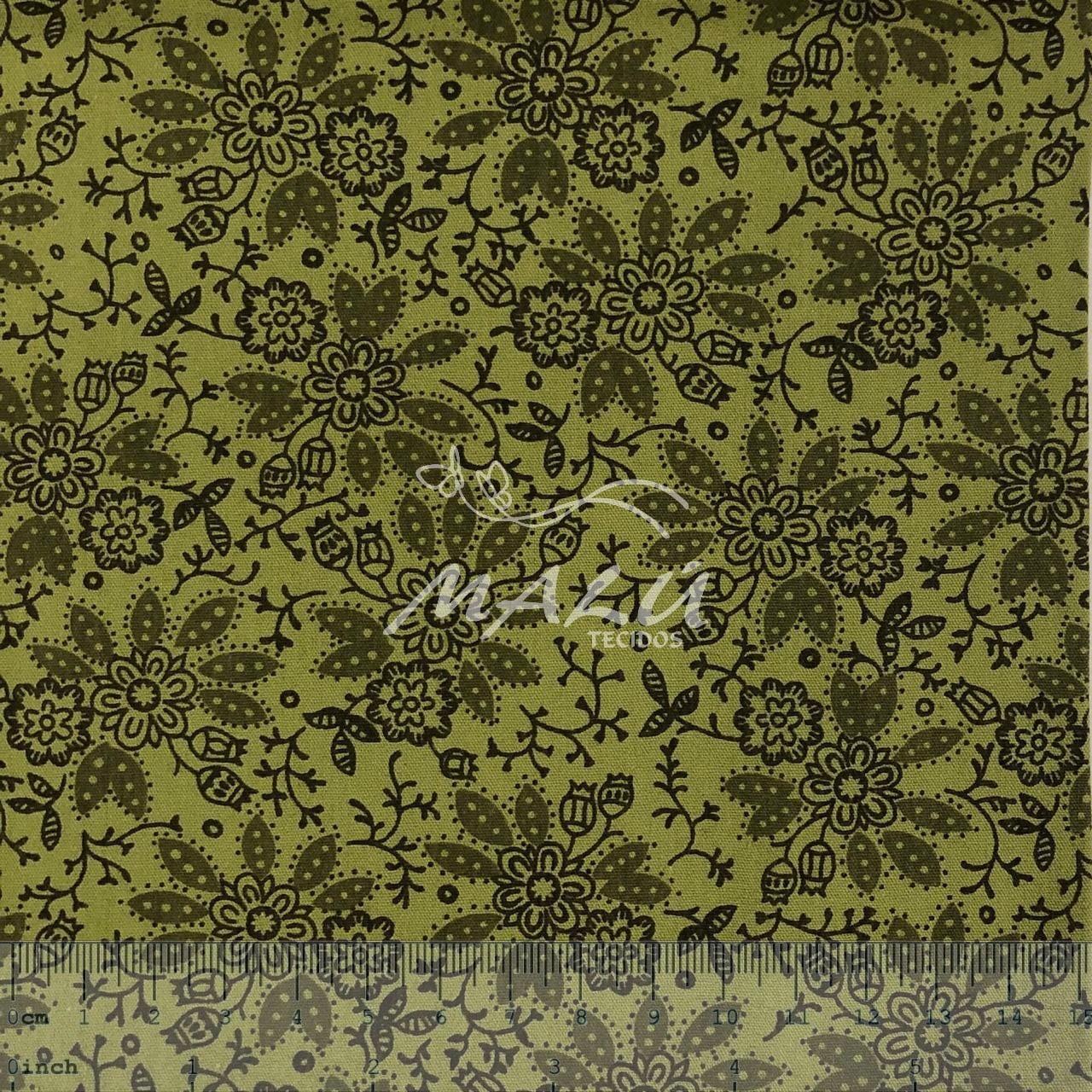 Tricoline Floral Verde Musgo