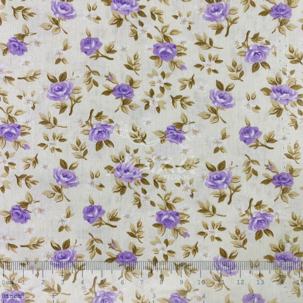 Tricoline Floral Lúcia Lavanda